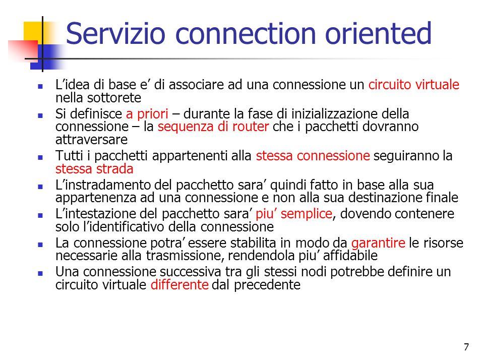 7 Servizio connection oriented L'idea di base e' di associare ad una connessione un circuito virtuale nella sottorete Si definisce a priori – durante
