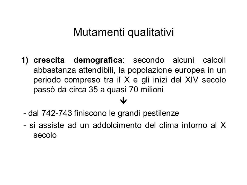 Mutamenti qualitativi 1)crescita demografica: secondo alcuni calcoli abbastanza attendibili, la popolazione europea in un periodo compreso tra il X e