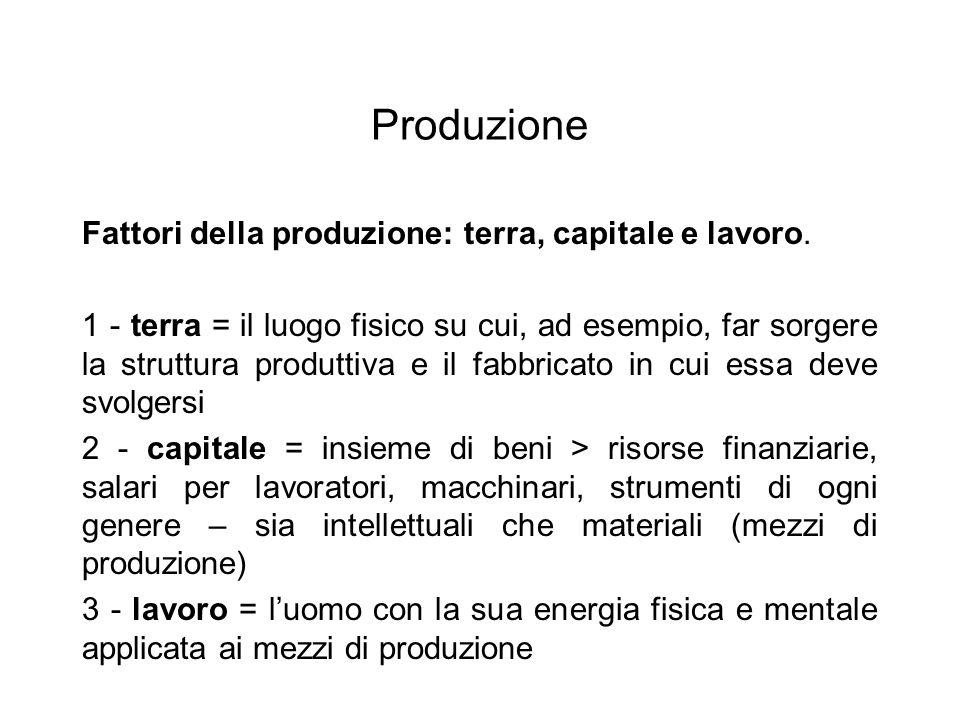 Produzione Fattori della produzione: terra, capitale e lavoro. 1 - terra = il luogo fisico su cui, ad esempio, far sorgere la struttura produttiva e i