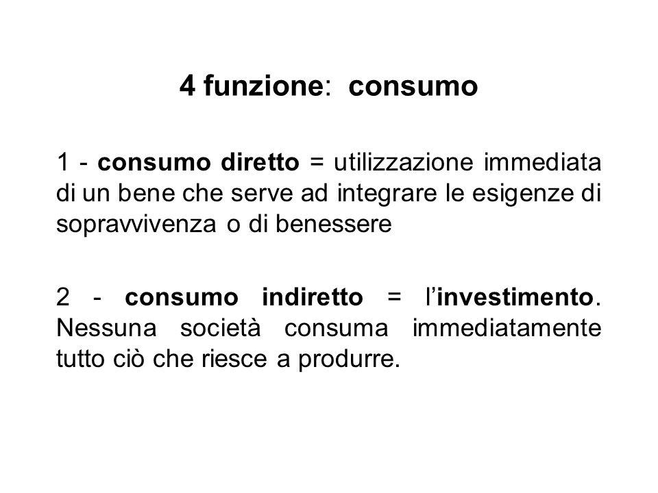 4 funzione: consumo 1 - consumo diretto = utilizzazione immediata di un bene che serve ad integrare le esigenze di sopravvivenza o di benessere 2 - consumo indiretto = l'investimento.