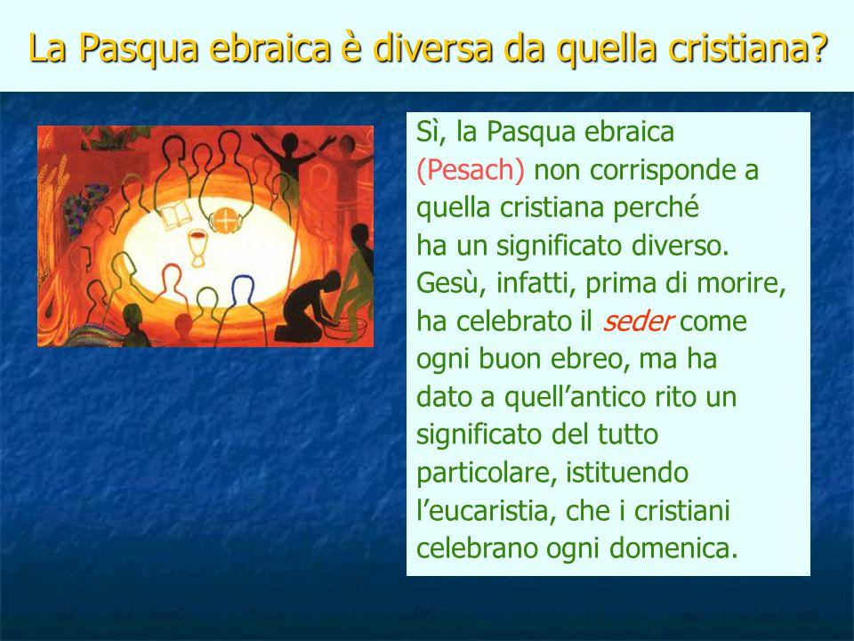 La Pasqua ebraica è diversa da quella cristiana? Sì, la Pasqua ebraica (Pesach) non corrisponde a quella cristiana perché ha un significato diverso. G