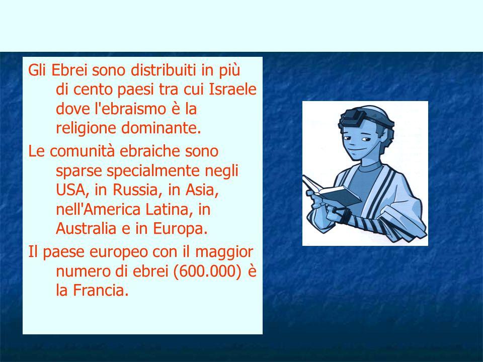 Gli Ebrei sono distribuiti in più di cento paesi tra cui Israele dove l'ebraismo è la religione dominante. Le comunità ebraiche sono sparse specialmen