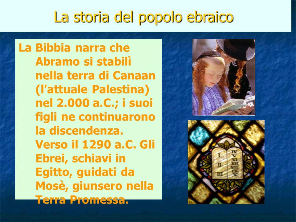 La storia del popolo ebraico La Bibbia narra che Abramo si stabilì nella terra di Canaan (l'attuale Palestina) nel 2.000 a.C.; i suoi figli ne continu
