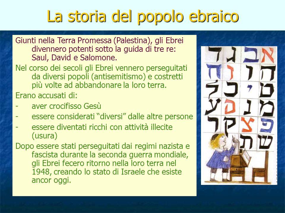 La storia del popolo ebraico Giunti nella Terra Promessa (Palestina), gli Ebrei divennero potenti sotto la guida di tre re: Saul, David e Salomone. Ne