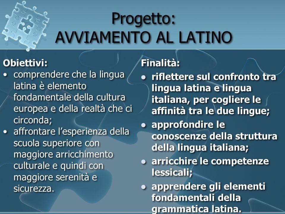 Progetto: AVVIAMENTO AL LATINO Progetto: AVVIAMENTO AL LATINO Obiettivi: comprendere che la lingua latina è elemento fondamentale della cultura europe
