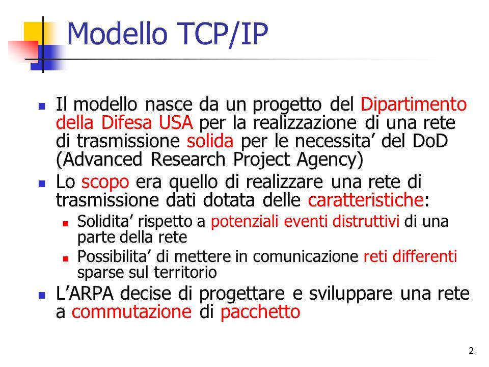 2 Modello TCP/IP Il modello nasce da un progetto del Dipartimento della Difesa USA per la realizzazione di una rete di trasmissione solida per le necessita' del DoD (Advanced Research Project Agency) Lo scopo era quello di realizzare una rete di trasmissione dati dotata delle caratteristiche: Solidita' rispetto a potenziali eventi distruttivi di una parte della rete Possibilita' di mettere in comunicazione reti differenti sparse sul territorio L'ARPA decise di progettare e sviluppare una rete a commutazione di pacchetto