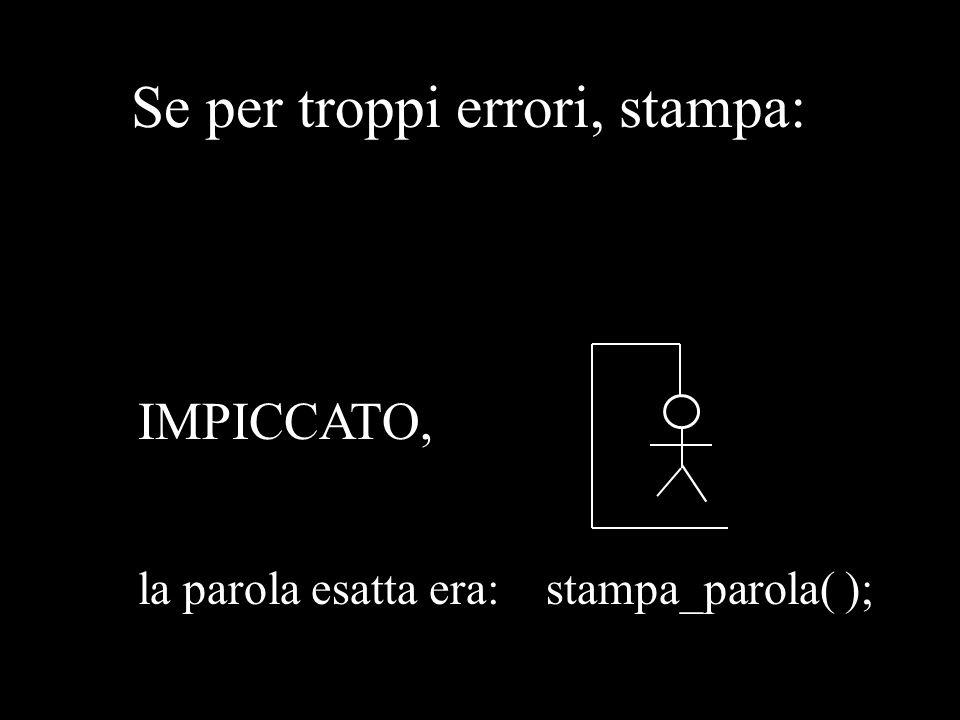 Se per troppi errori, stampa: IMPICCATO, la parola esatta era: stampa_parola( );