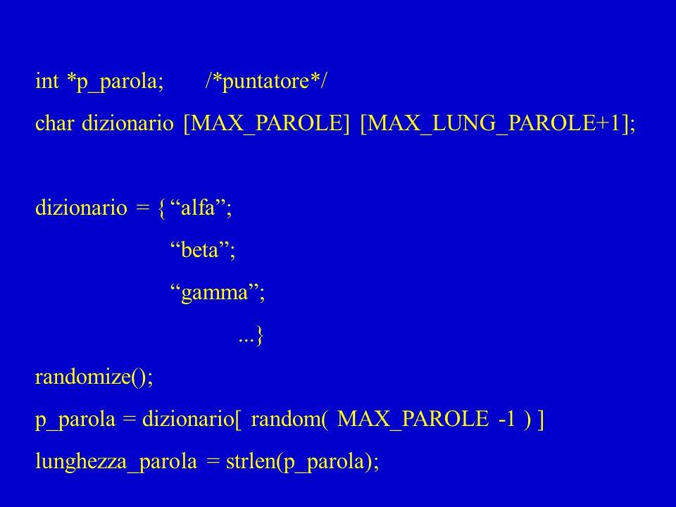 """int *p_parola; /*puntatore*/ char dizionario [MAX_PAROLE] [MAX_LUNG_PAROLE+1]; dizionario = {""""alfa""""; """"beta""""; """"gamma"""";...} randomize(); p_parola = dizi"""