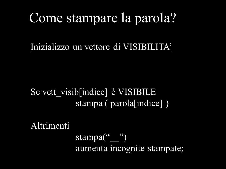 """Come stampare la parola? Inizializzo un vettore di VISIBILITA' Se vett_visib[indice] è VISIBILE stampa ( parola[indice] ) Altrimenti stampa(""""__"""") aume"""