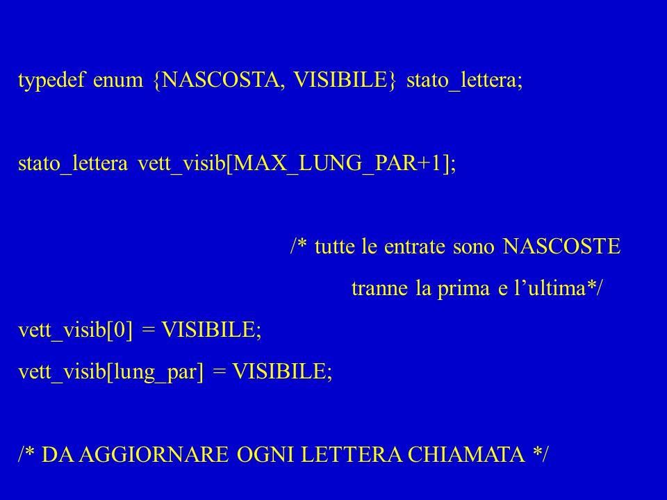 typedef enum {NASCOSTA, VISIBILE} stato_lettera; stato_lettera vett_visib[MAX_LUNG_PAR+1]; /* tutte le entrate sono NASCOSTE tranne la prima e l'ultim