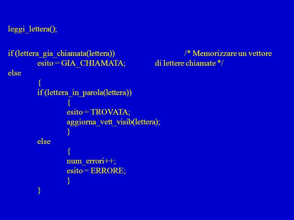leggi_lettera(); if (lettera_gia_chiamata(lettera)) /* Memorizzare un vettore esito = GIA_CHIAMATA;di lettere chiamate */ else { if (lettera_in_parola