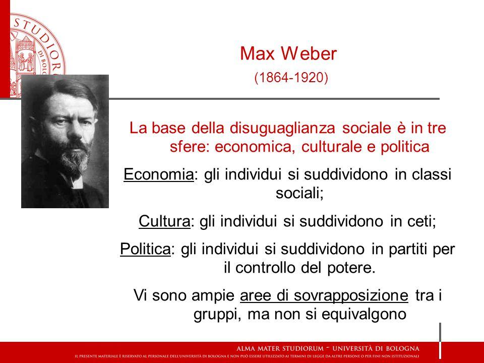 Max Weber (1864-1920) La base della disuguaglianza sociale è in tre sfere: economica, culturale e politica Economia: gli individui si suddividono in classi sociali; Cultura: gli individui si suddividono in ceti; Politica: gli individui si suddividono in partiti per il controllo del potere.