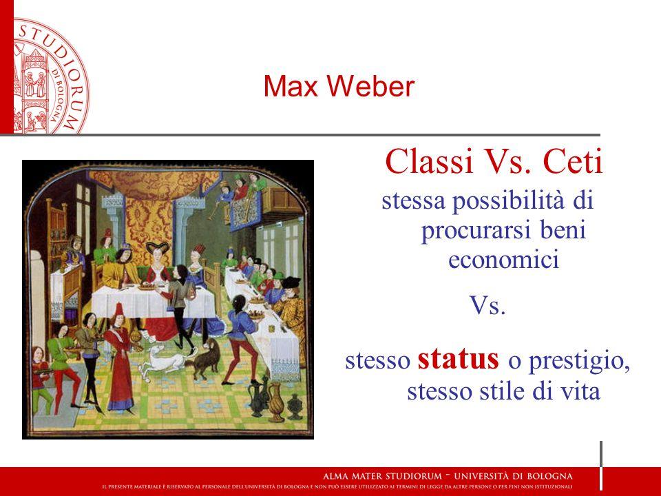 Max Weber Classi Vs. Ceti stessa possibilità di procurarsi beni economici Vs. stesso status o prestigio, stesso stile di vita