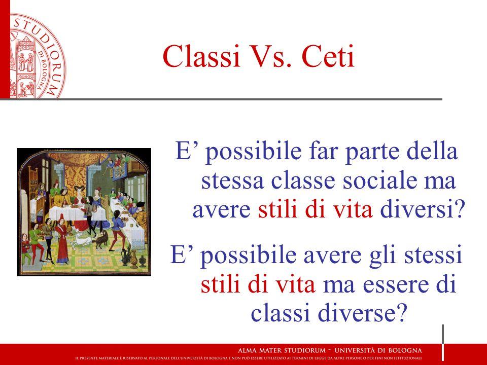 Classi Vs. Ceti E' possibile far parte della stessa classe sociale ma avere stili di vita diversi? E' possibile avere gli stessi stili di vita ma esse