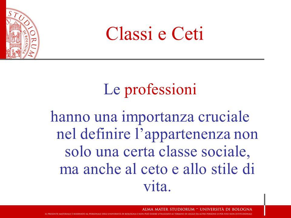 Classi e Ceti Le professioni hanno una importanza cruciale nel definire l'appartenenza non solo una certa classe sociale, ma anche al ceto e allo stile di vita.