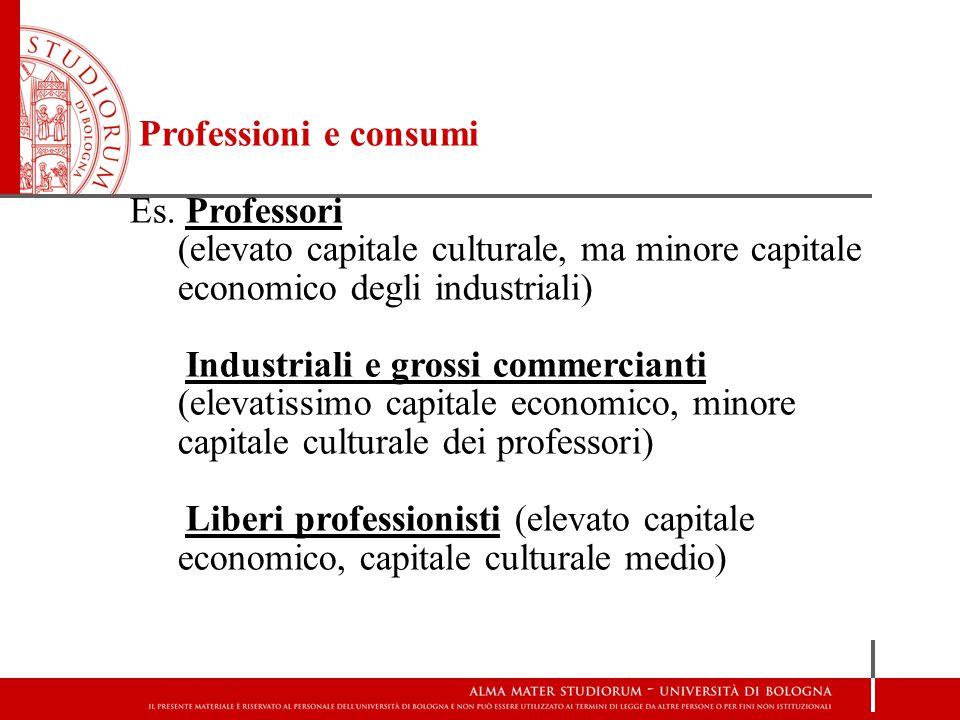 Professioni e consumi Es. Professori (elevato capitale culturale, ma minore capitale economico degli industriali) Industriali e grossi commercianti (e