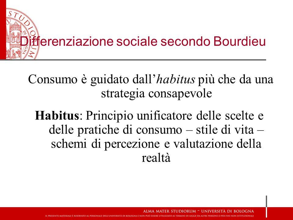 Consumo è guidato dall'habitus più che da una strategia consapevole Habitus: Principio unificatore delle scelte e delle pratiche di consumo – stile di vita – schemi di percezione e valutazione della realtà Differenziazione sociale secondo Bourdieu