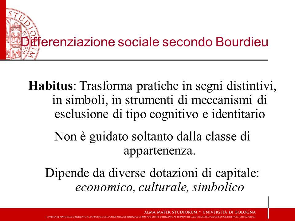 Habitus: Trasforma pratiche in segni distintivi, in simboli, in strumenti di meccanismi di esclusione di tipo cognitivo e identitario Non è guidato soltanto dalla classe di appartenenza.