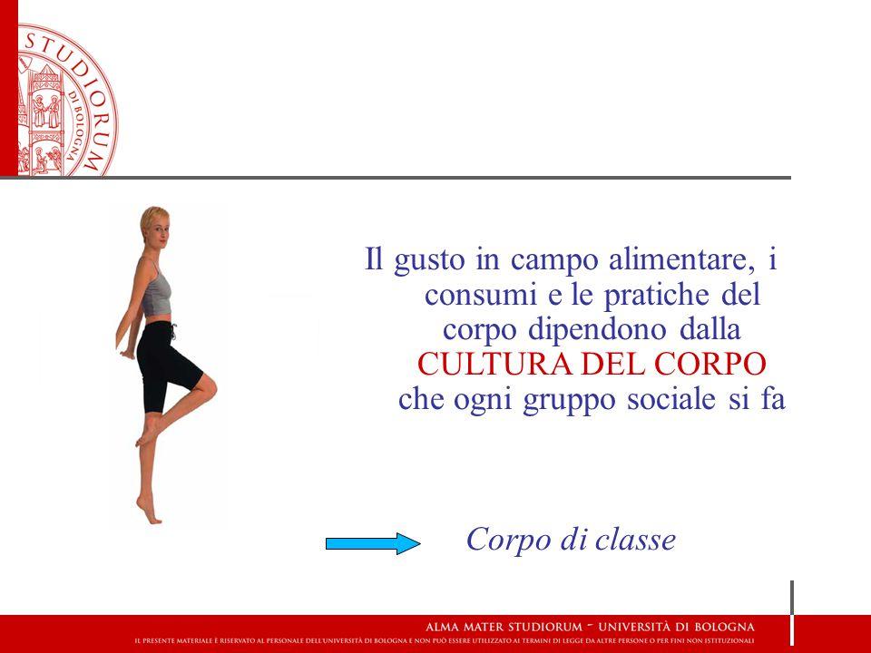 Il gusto in campo alimentare, i consumi e le pratiche del corpo dipendono dalla CULTURA DEL CORPO che ogni gruppo sociale si fa Corpo di classe