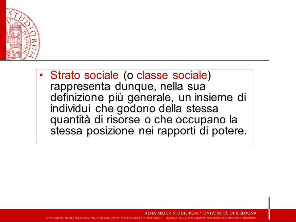 Strato sociale (o classe sociale) rappresenta dunque, nella sua definizione più generale, un insieme di individui che godono della stessa quantità di