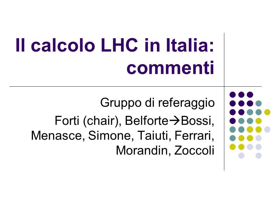 Il calcolo LHC in Italia: commenti Gruppo di referaggio Forti (chair), Belforte  Bossi, Menasce, Simone, Taiuti, Ferrari, Morandin, Zoccoli