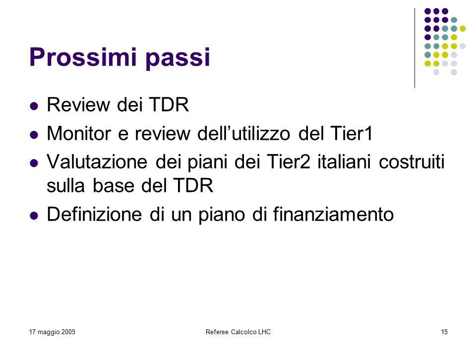 17 maggio 2005Referee Calcolco LHC15 Prossimi passi Review dei TDR Monitor e review dell'utilizzo del Tier1 Valutazione dei piani dei Tier2 italiani costruiti sulla base del TDR Definizione di un piano di finanziamento