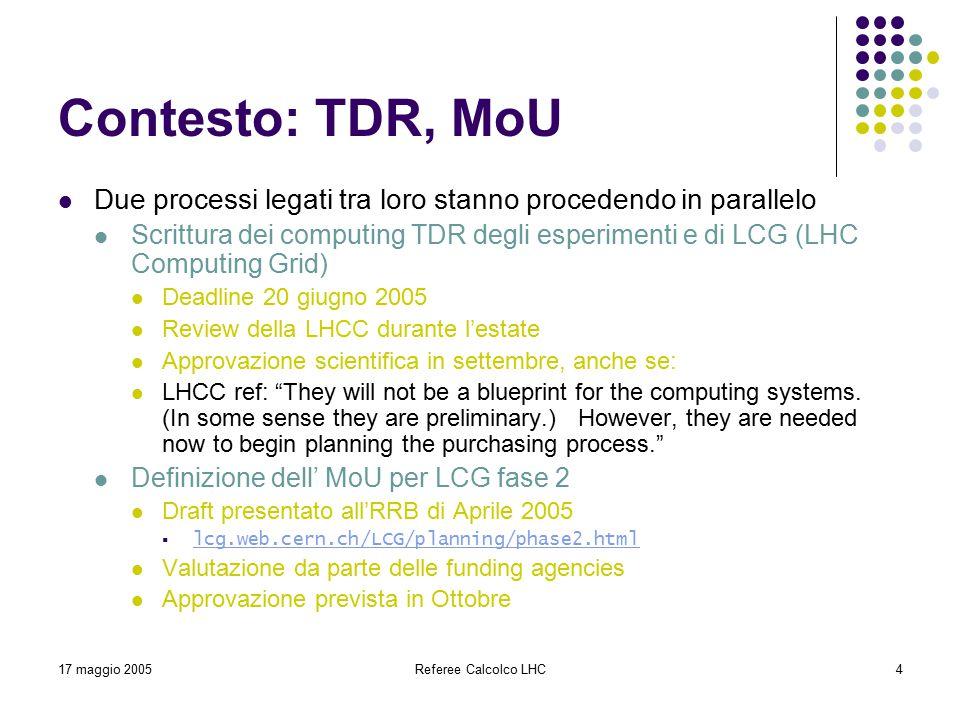 17 maggio 2005Referee Calcolco LHC4 Contesto: TDR, MoU Due processi legati tra loro stanno procedendo in parallelo Scrittura dei computing TDR degli esperimenti e di LCG (LHC Computing Grid) Deadline 20 giugno 2005 Review della LHCC durante l'estate Approvazione scientifica in settembre, anche se: LHCC ref: They will not be a blueprint for the computing systems.