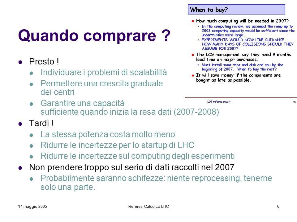 17 maggio 2005Referee Calcolco LHC6 Quando comprare ? Presto ! Individuare i problemi di scalabilità Permettere una crescita graduale dei centri Garan