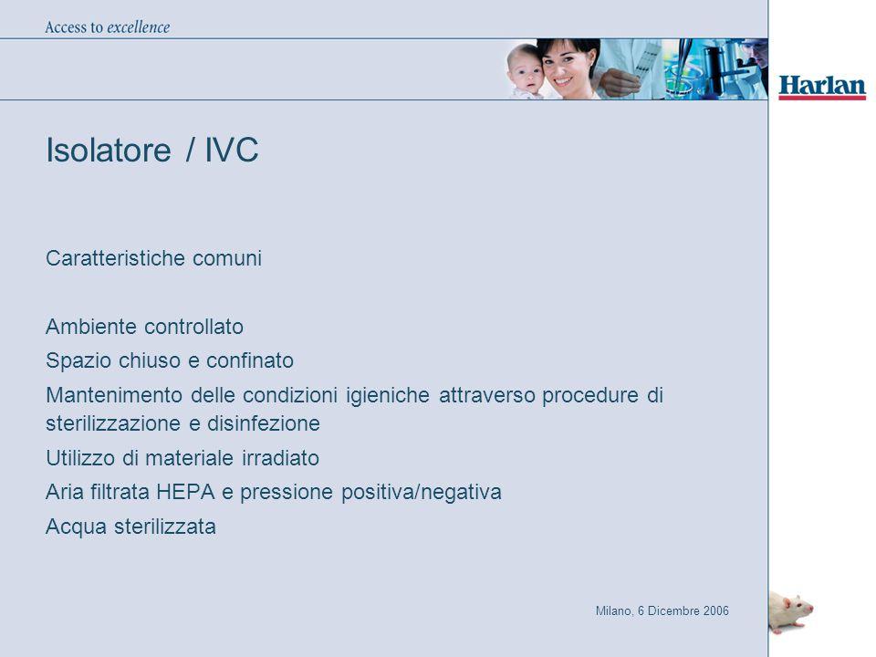 Milano, 6 Dicembre 2006 Isolatore / IVC Caratteristiche comuni Ambiente controllato Spazio chiuso e confinato Mantenimento delle condizioni igieniche