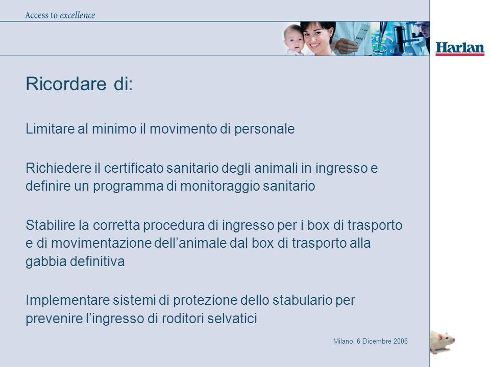 Ricordare di: Limitare al minimo il movimento di personale Richiedere il certificato sanitario degli animali in ingresso e definire un programma di mo