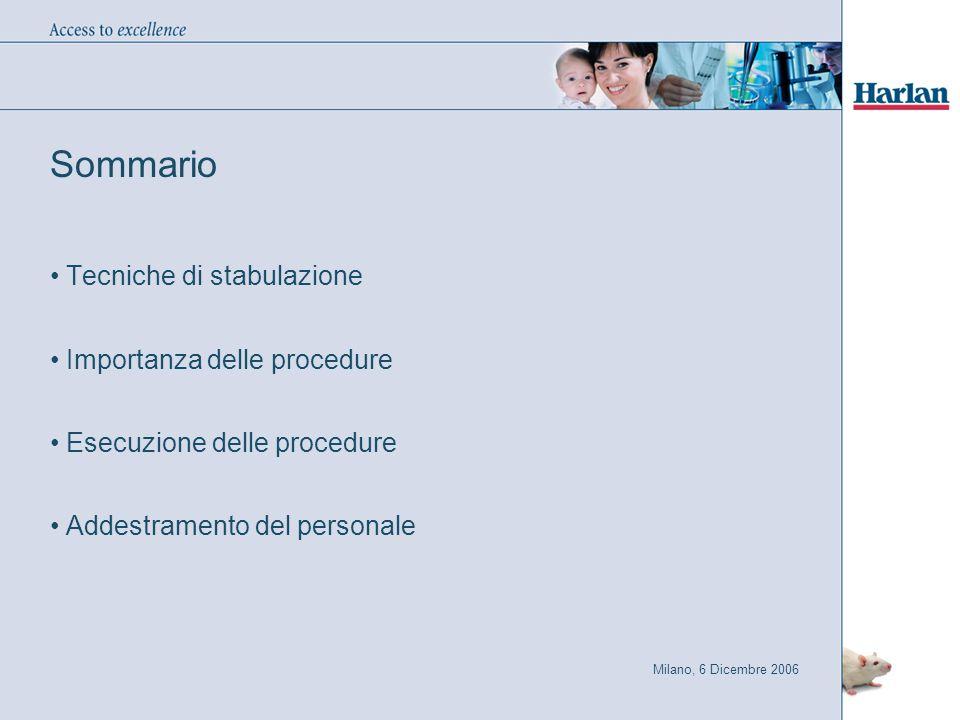 Milano, 6 Dicembre 2006 Sommario Tecniche di stabulazione Importanza delle procedure Esecuzione delle procedure Addestramento del personale