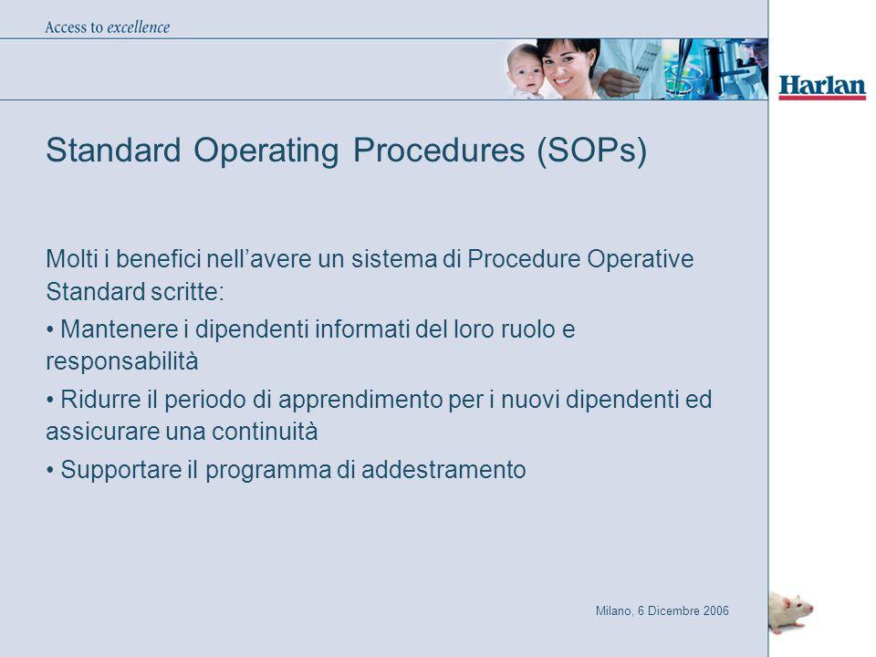 Milano, 6 Dicembre 2006 Standard Operating Procedures (SOPs) Molti i benefici nell'avere un sistema di Procedure Operative Standard scritte: Mantenere i dipendenti informati del loro ruolo e responsabilità Ridurre il periodo di apprendimento per i nuovi dipendenti ed assicurare una continuità Supportare il programma di addestramento