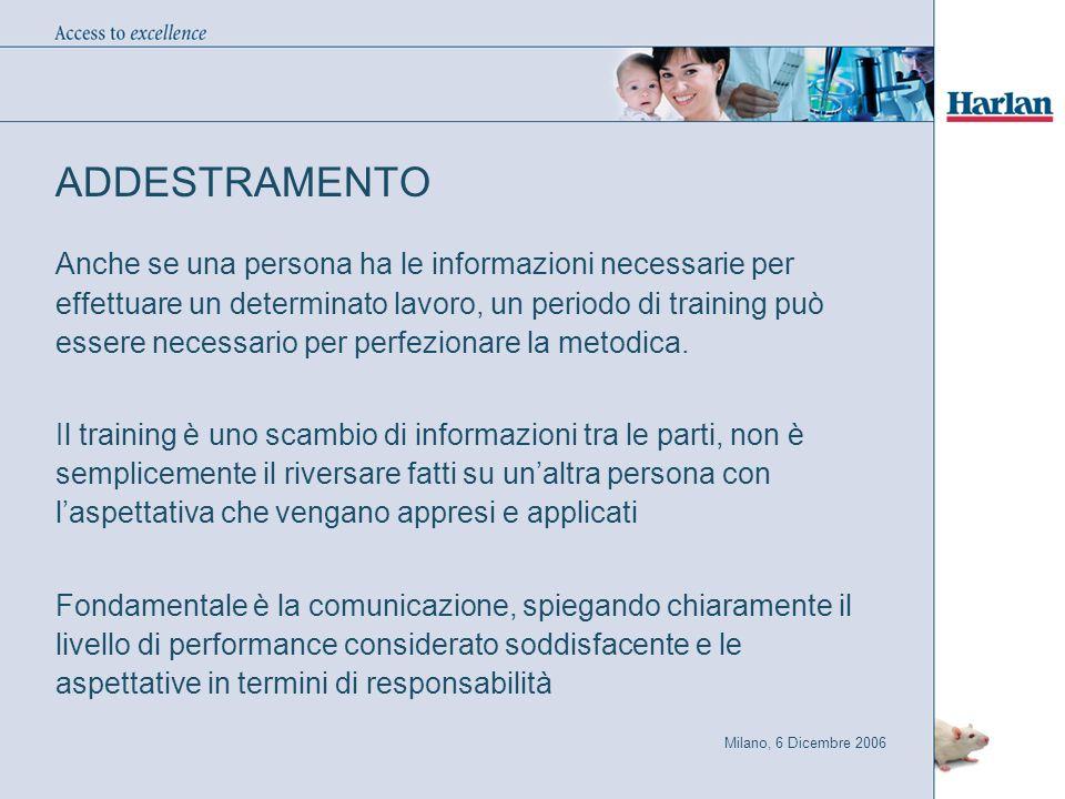 Milano, 6 Dicembre 2006 ADDESTRAMENTO Anche se una persona ha le informazioni necessarie per effettuare un determinato lavoro, un periodo di training può essere necessario per perfezionare la metodica.