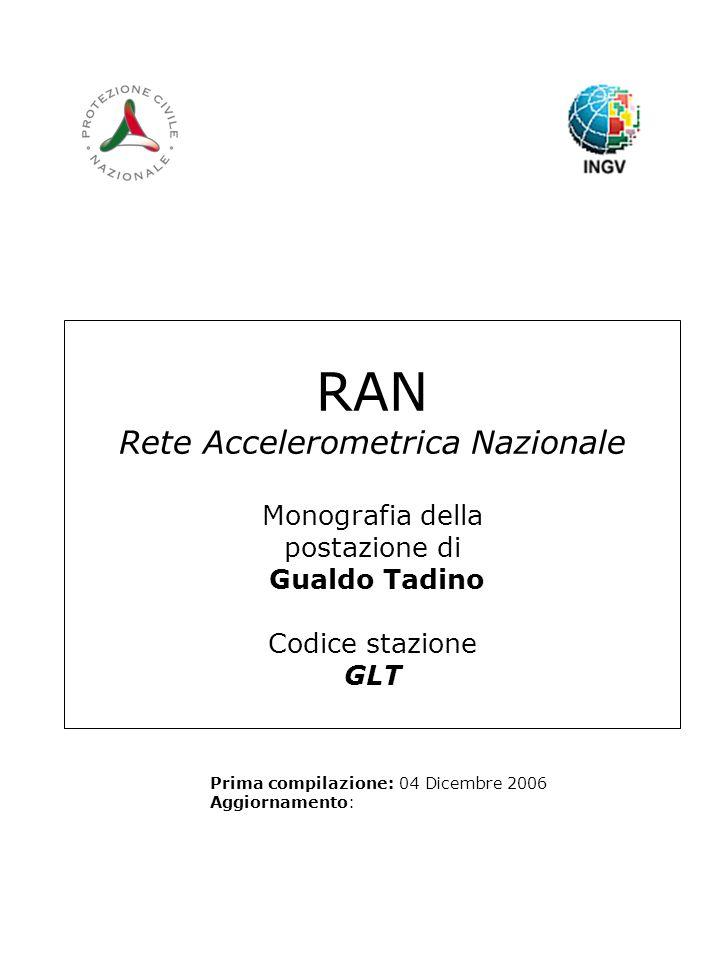 RAN Rete Accelerometrica Nazionale Monografia della postazione di Gualdo Tadino Codice stazione GLT Prima compilazione: 04 Dicembre 2006 Aggiornamento: Logo RAN