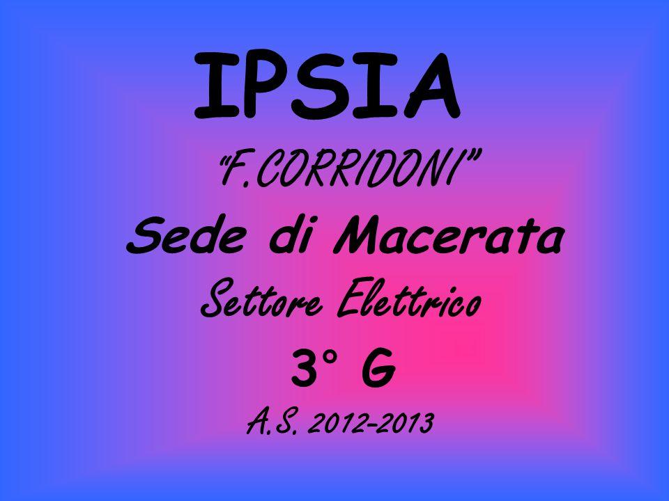 """IPSIA """" F.CORRIDONI"""" Sede di Macerata Settore Elettrico 3° G A.S. 2012-2013"""