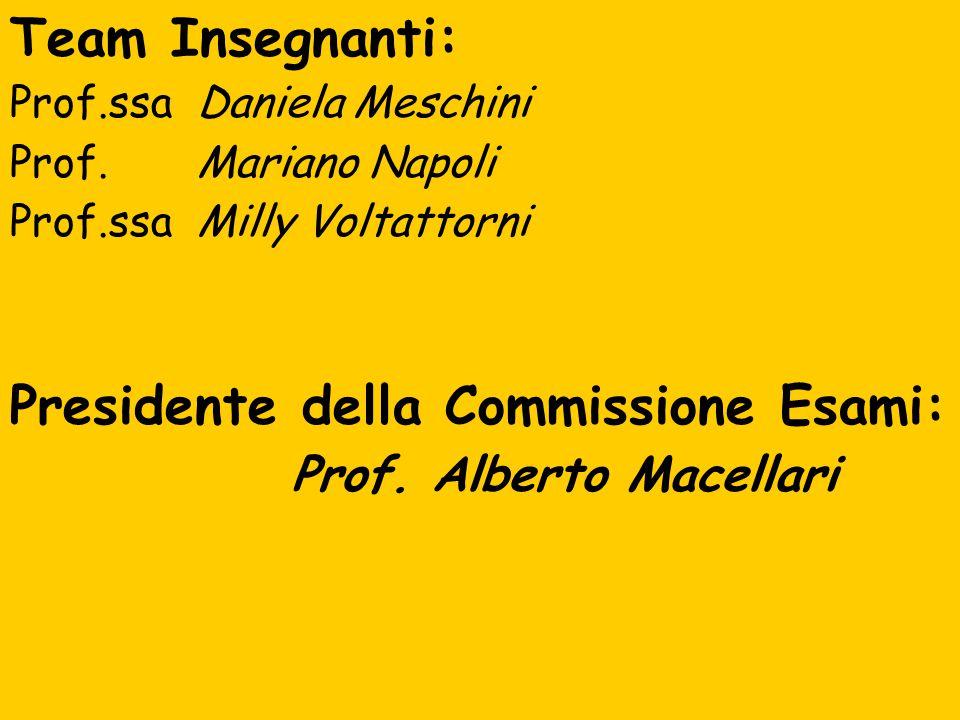 Team Insegnanti: Prof.ssa Daniela Meschini Prof. Mariano Napoli Prof.ssa Milly Voltattorni Presidente della Commissione Esami: Prof. Alberto Macellari