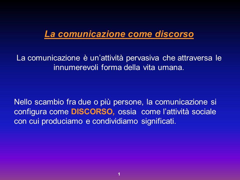 1 La comunicazione come discorso La comunicazione è un'attività pervasiva che attraversa le innumerevoli forma della vita umana. Nello scambio fra due