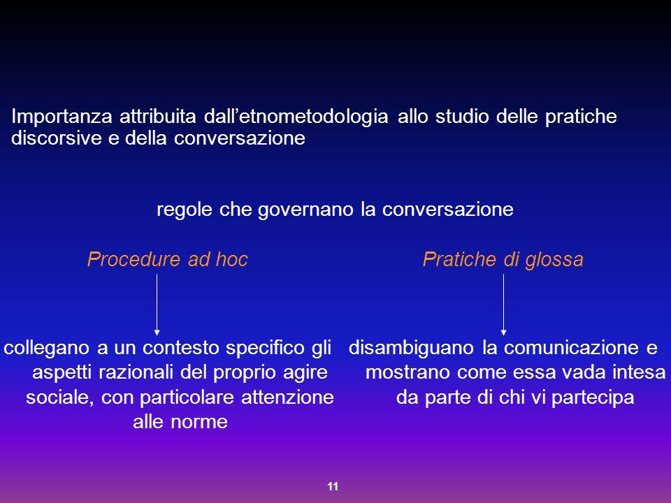 11 Importanza attribuita dall'etnometodologia allo studio delle pratiche discorsive e della conversazione regole che governano la conversazione Proced