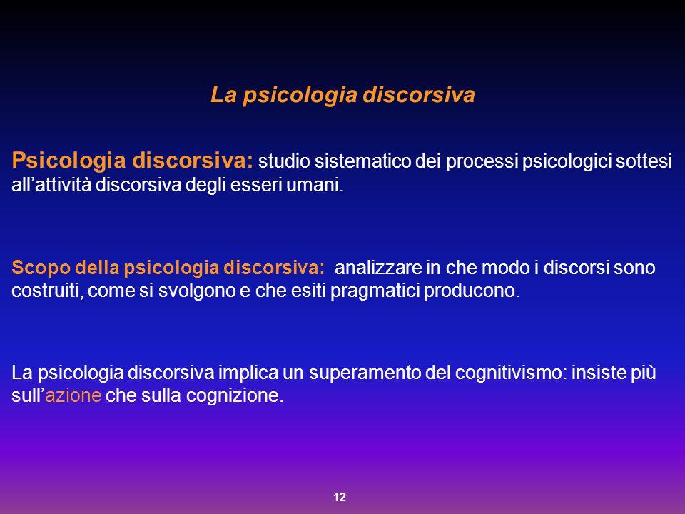 12 La psicologia discorsiva Psicologia discorsiva: studio sistematico dei processi psicologici sottesi all'attività discorsiva degli esseri umani. Sco