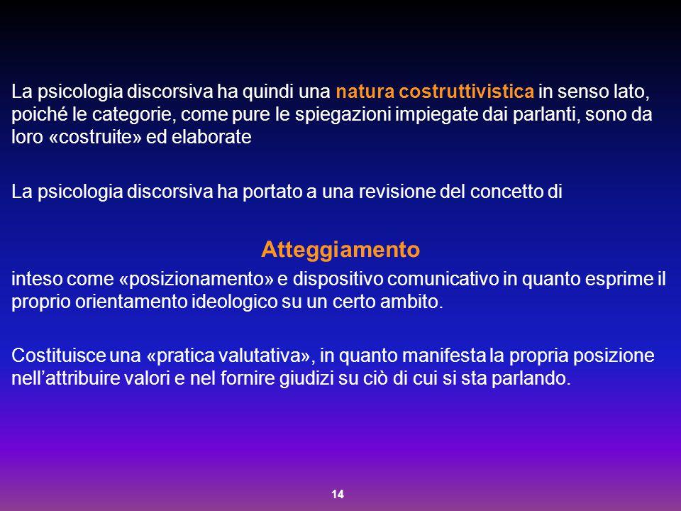 14 La psicologia discorsiva ha quindi una natura costruttivistica in senso lato, poiché le categorie, come pure le spiegazioni impiegate dai parlanti,
