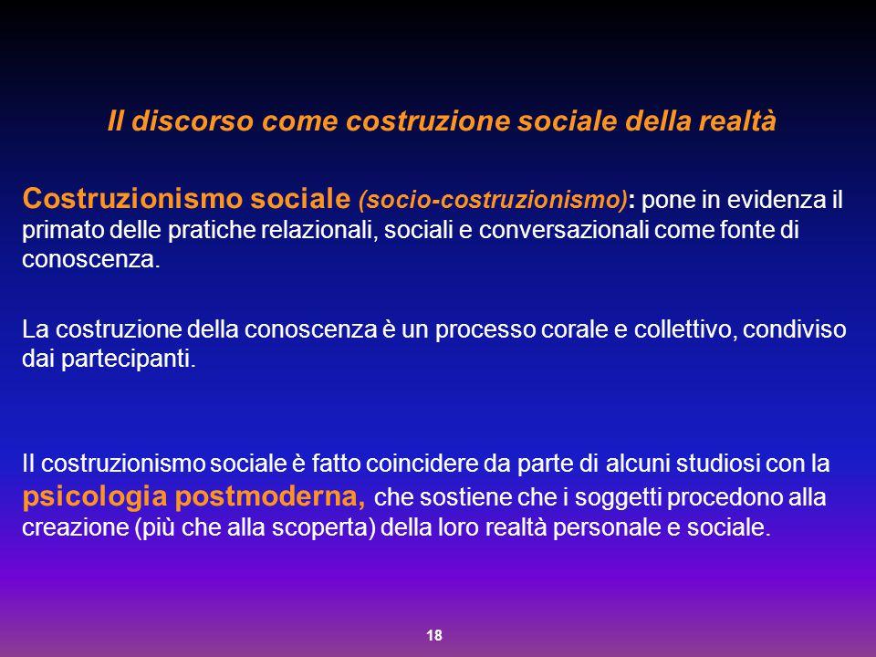 18 Il discorso come costruzione sociale della realtà Costruzionismo sociale (socio-costruzionismo): pone in evidenza il primato delle pratiche relazio