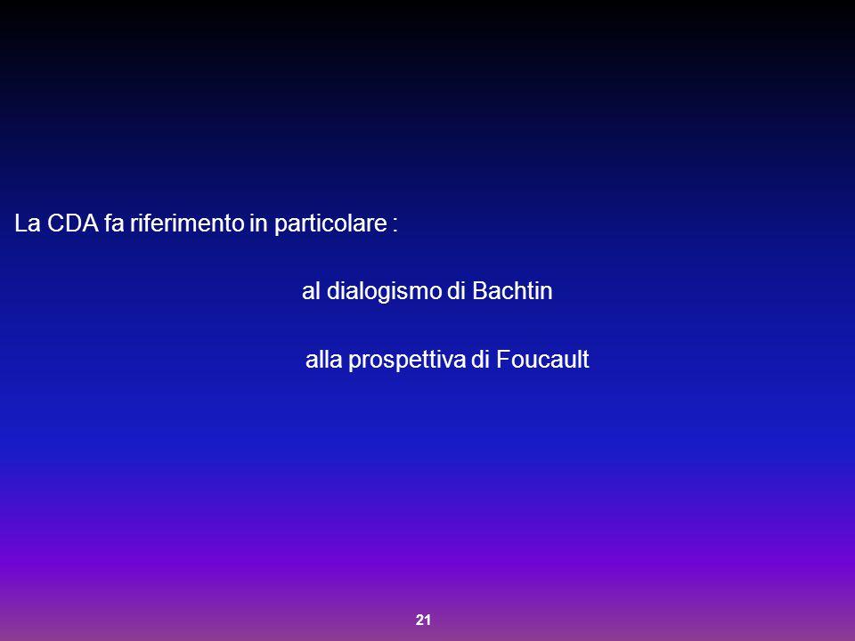 21 La CDA fa riferimento in particolare : al dialogismo di Bachtin alla prospettiva di Foucault