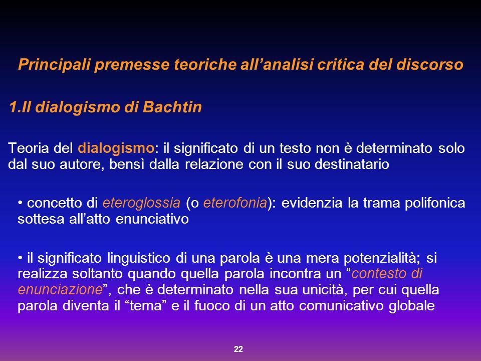 22 Principali premesse teoriche all'analisi critica del discorso 1.Il dialogismo di Bachtin Teoria del dialogismo: il significato di un testo non è de