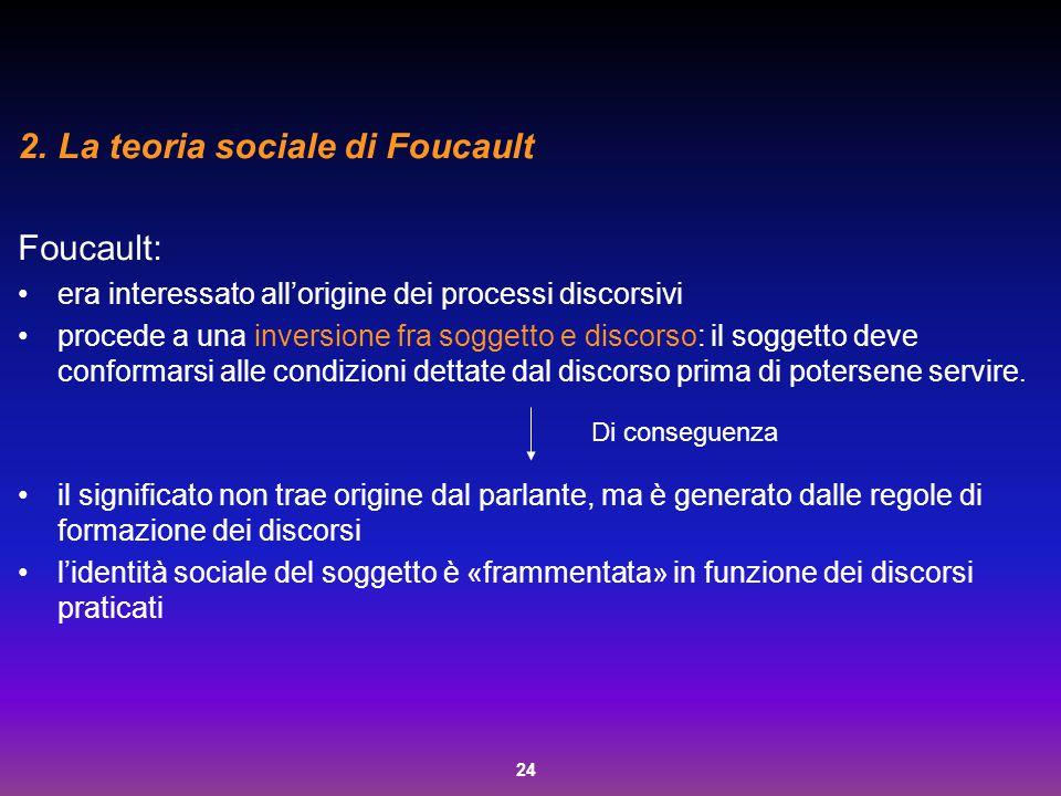 24 2.La teoria sociale di Foucault Foucault: era interessato all'origine dei processi discorsivi procede a una inversione fra soggetto e discorso: il