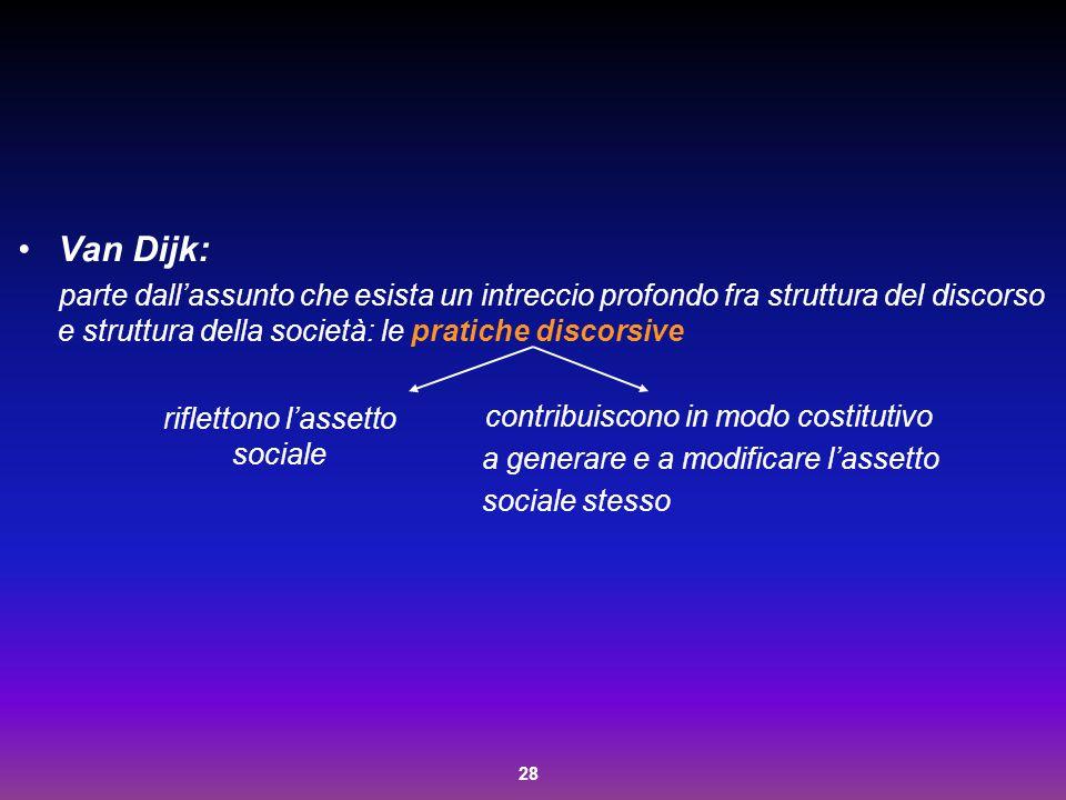 28 Van Dijk: parte dall'assunto che esista un intreccio profondo fra struttura del discorso e struttura della società: le pratiche discorsive contribu