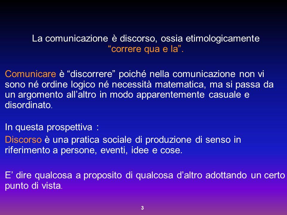 """3 La comunicazione è discorso, ossia etimologicamente """"correre qua e la"""". Comunicare è """"discorrere"""" poiché nella comunicazione non vi sono né ordine l"""