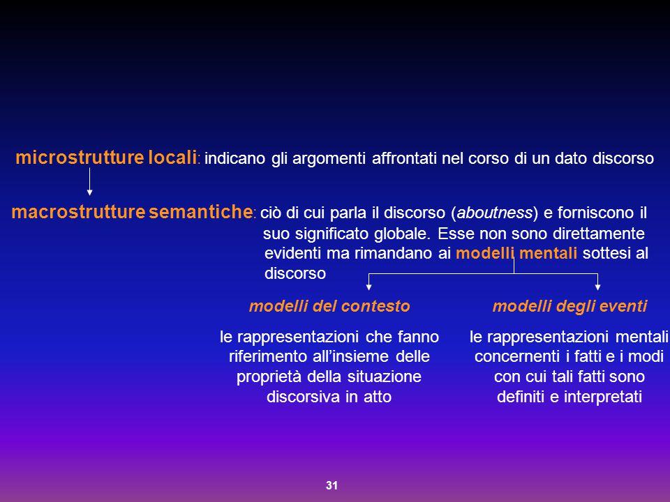 31 microstrutture locali : indicano gli argomenti affrontati nel corso di un dato discorso macrostrutture semantiche : ciò di cui parla il discorso (a