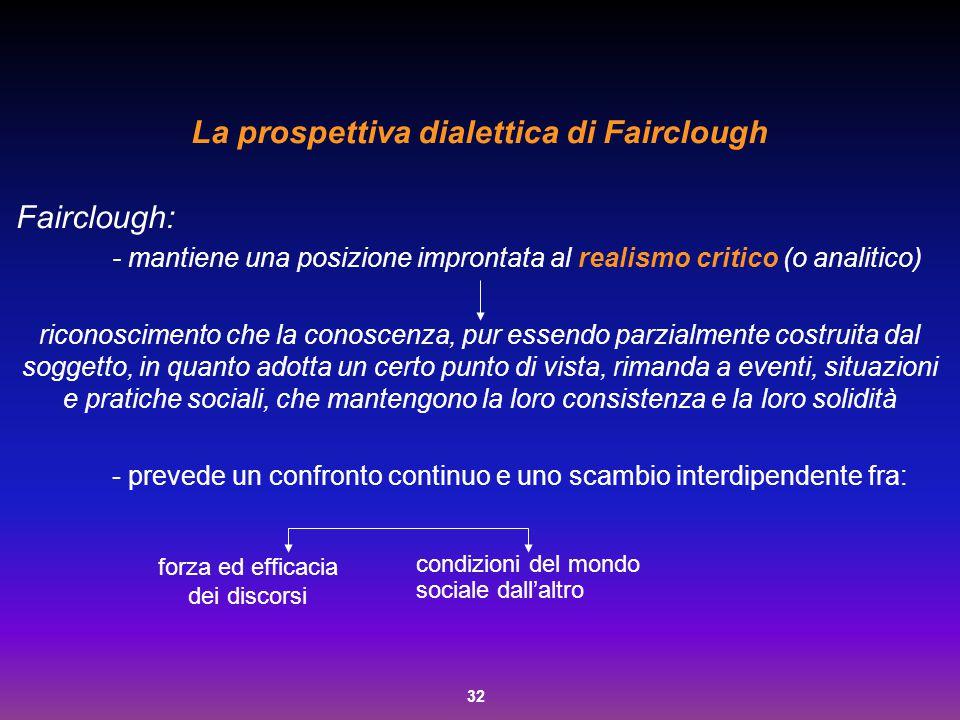 32 La prospettiva dialettica di Fairclough Fairclough: - mantiene una posizione improntata al realismo critico (o analitico) riconoscimento che la con