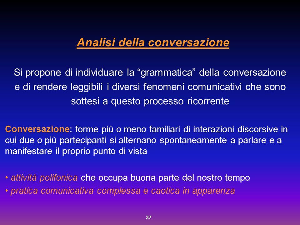 """37 Analisi della conversazione Si propone di individuare la """"grammatica"""" della conversazione e di rendere leggibili i diversi fenomeni comunicativi ch"""