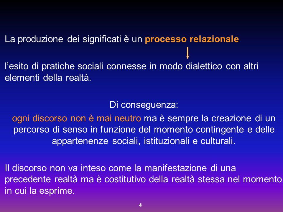 4 La produzione dei significati è un processo relazionale l'esito di pratiche sociali connesse in modo dialettico con altri elementi della realtà. Di